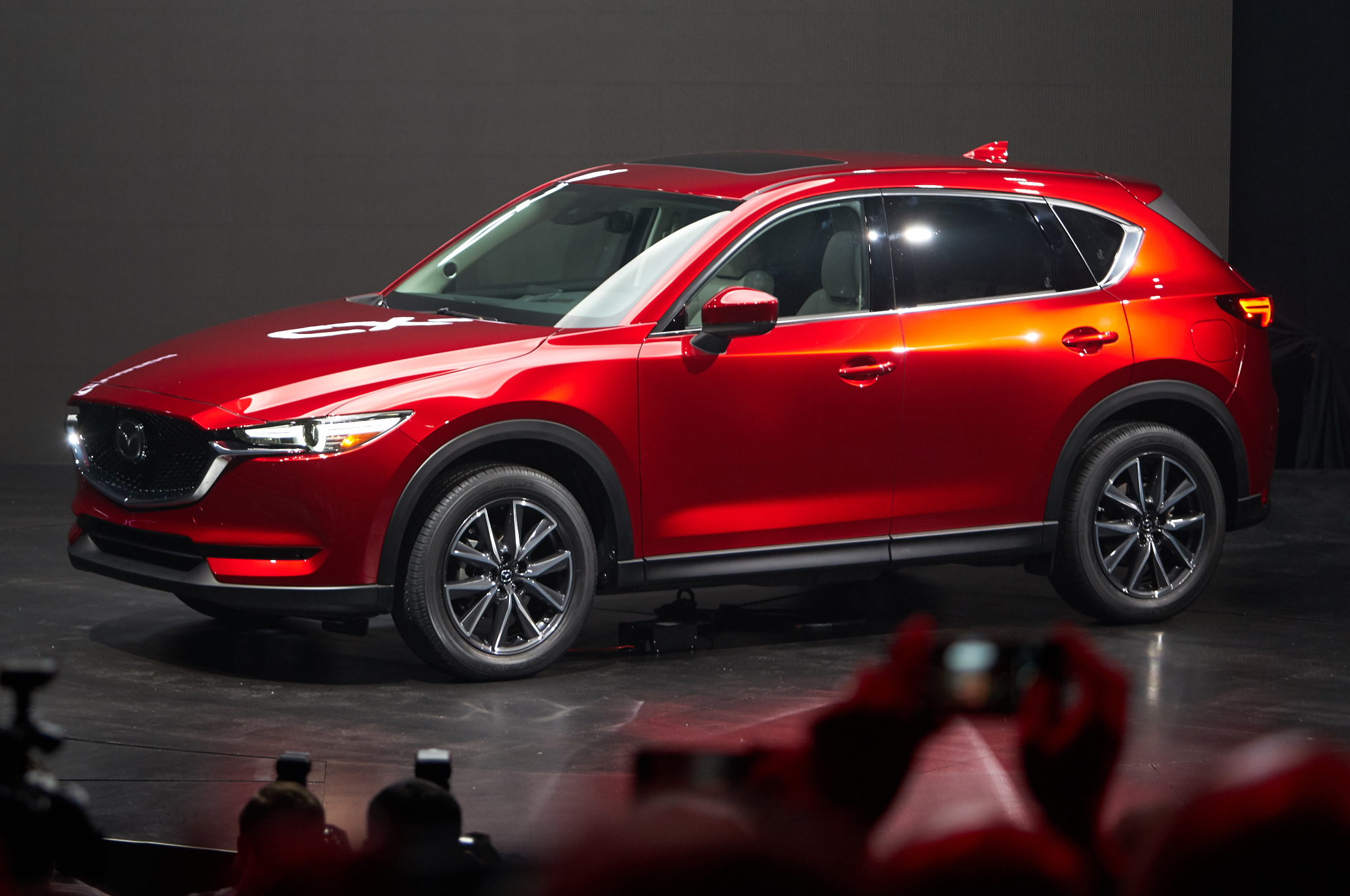 2017-mazda-cx-5-front-three-quarter-view-on-stage
