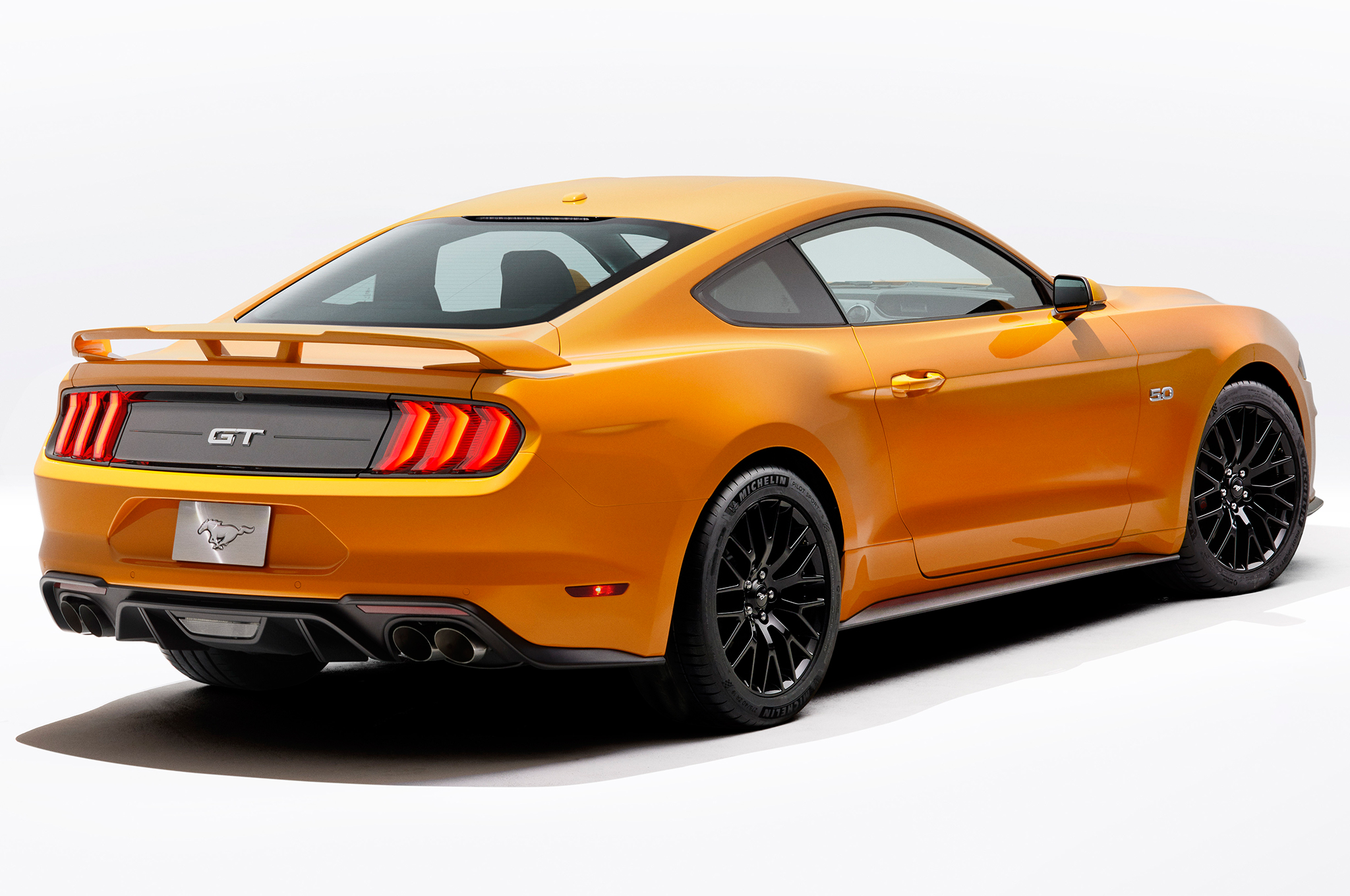 2018-Ford-Mustang-V8-GT-with-Performance-Pack-rear-three-quarter-studio